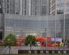 雨中的重庆国际会展中心